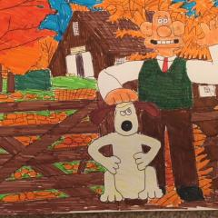 Wallace and Gromit in Autumn